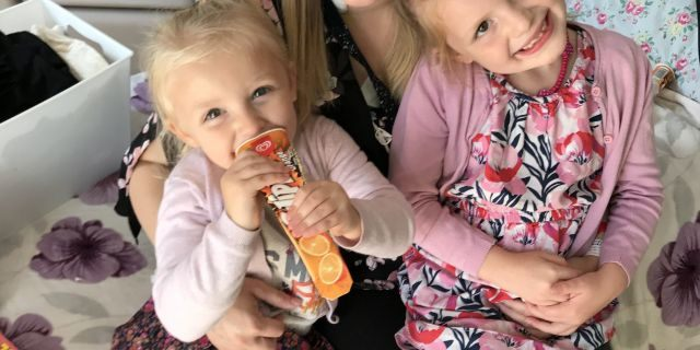 Brown, pictured with her two older children, said seeing her youngest babies take their first steps inspired her to learn how to walk using a prosthetic leg.