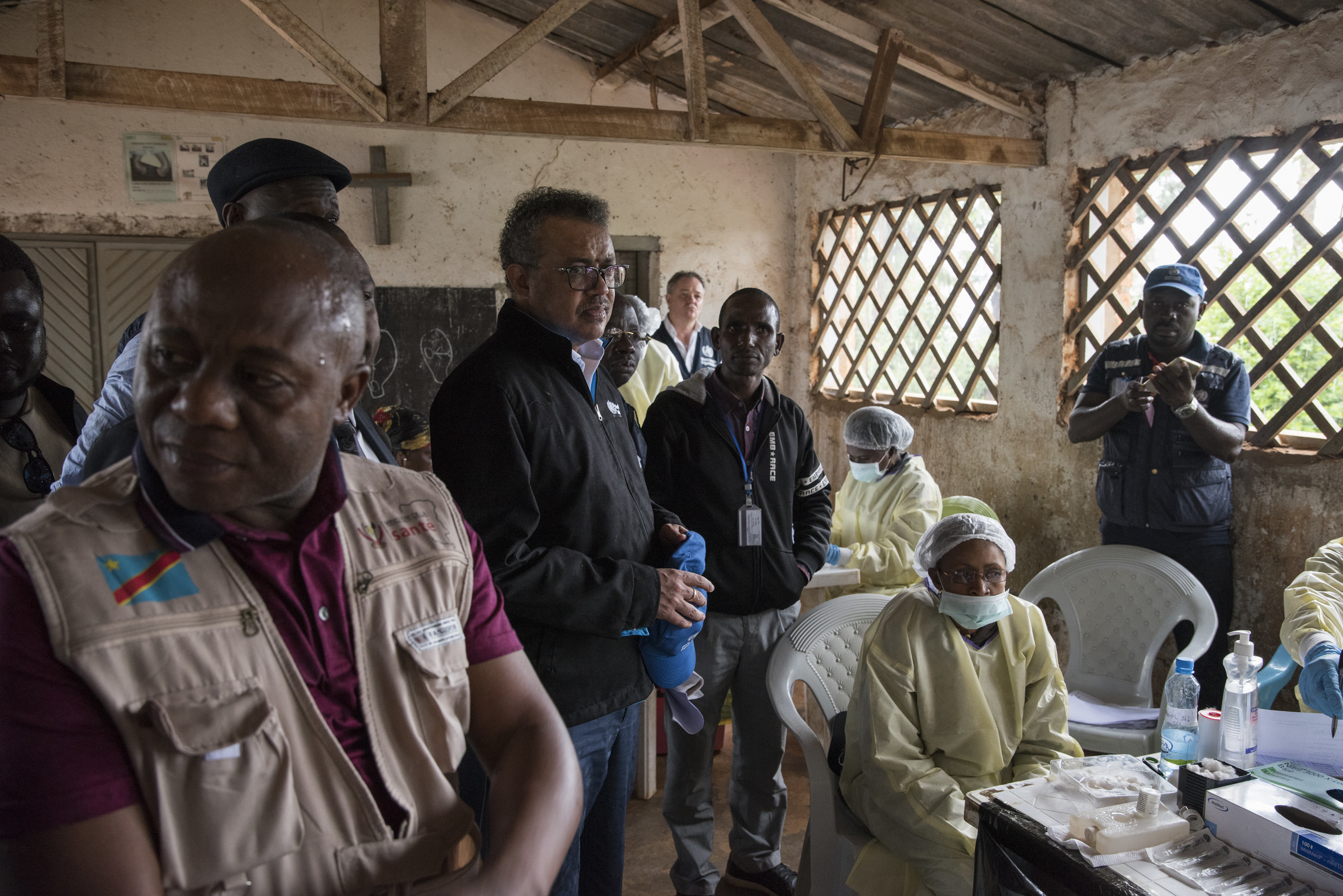 WHO Director-General Tedros Adhanom Ghebreyesus (center) visits a WHO Ebola vaccination team in Butembo on Jan. 1, 2019.