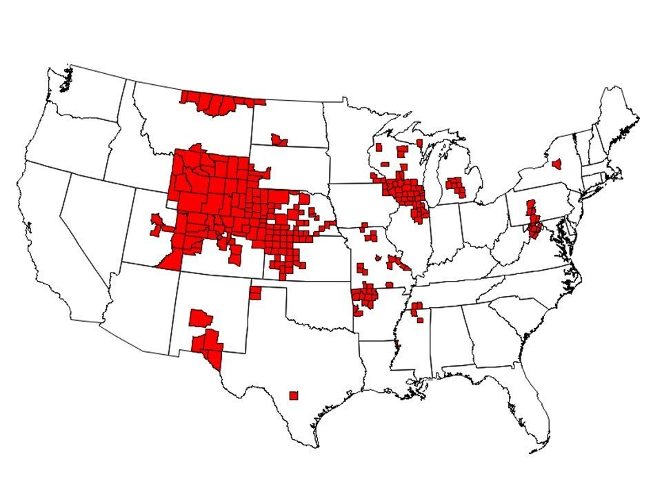 As of January, there were 251 counties in 24 states with reported CWD in free-ranging cervids. Those states are Ark