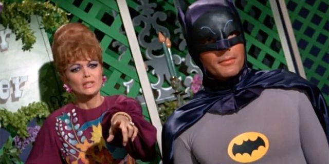 """Lisa Seagram (left) portrayed Lila, the accomplice of Milton Berle's Louie the Lilac, on the third season of ABC's """"Batman. """""""