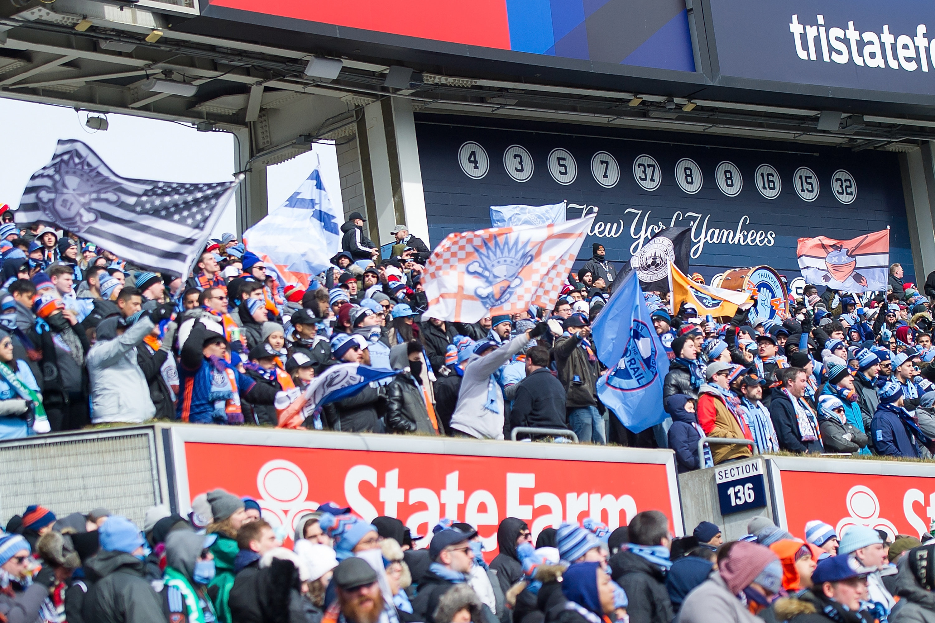 Four sections at Yankee Stadium are reserved for New York City Football Club supporters groups. Some of the team's most loyal
