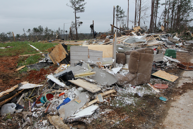 Damage is seen from tornadoes in Beauregard.