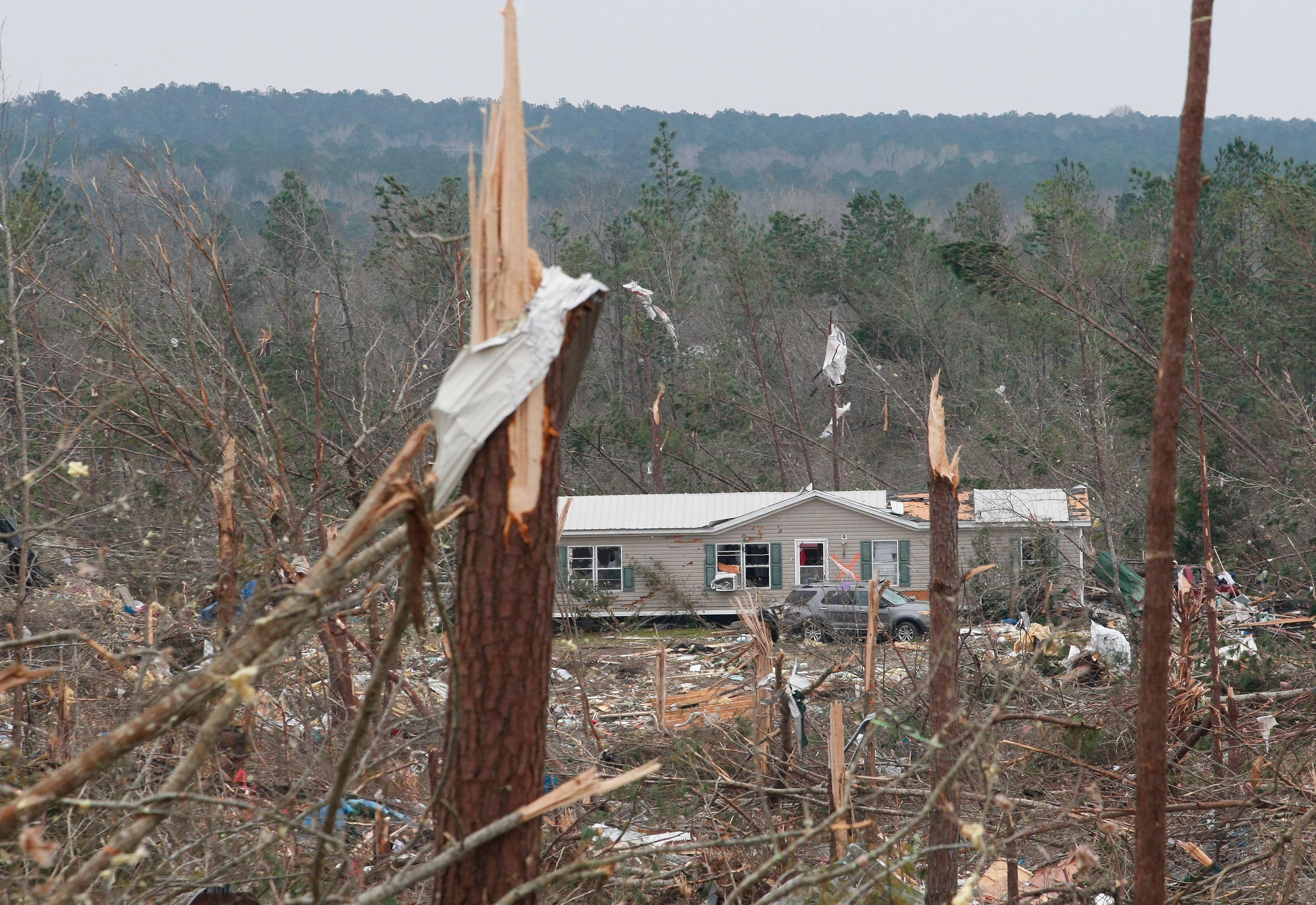 Damage from tornadoes in Beauregard.
