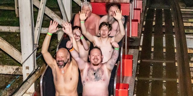 The British theme park scooped a world record for the most naked people on a coaster.
