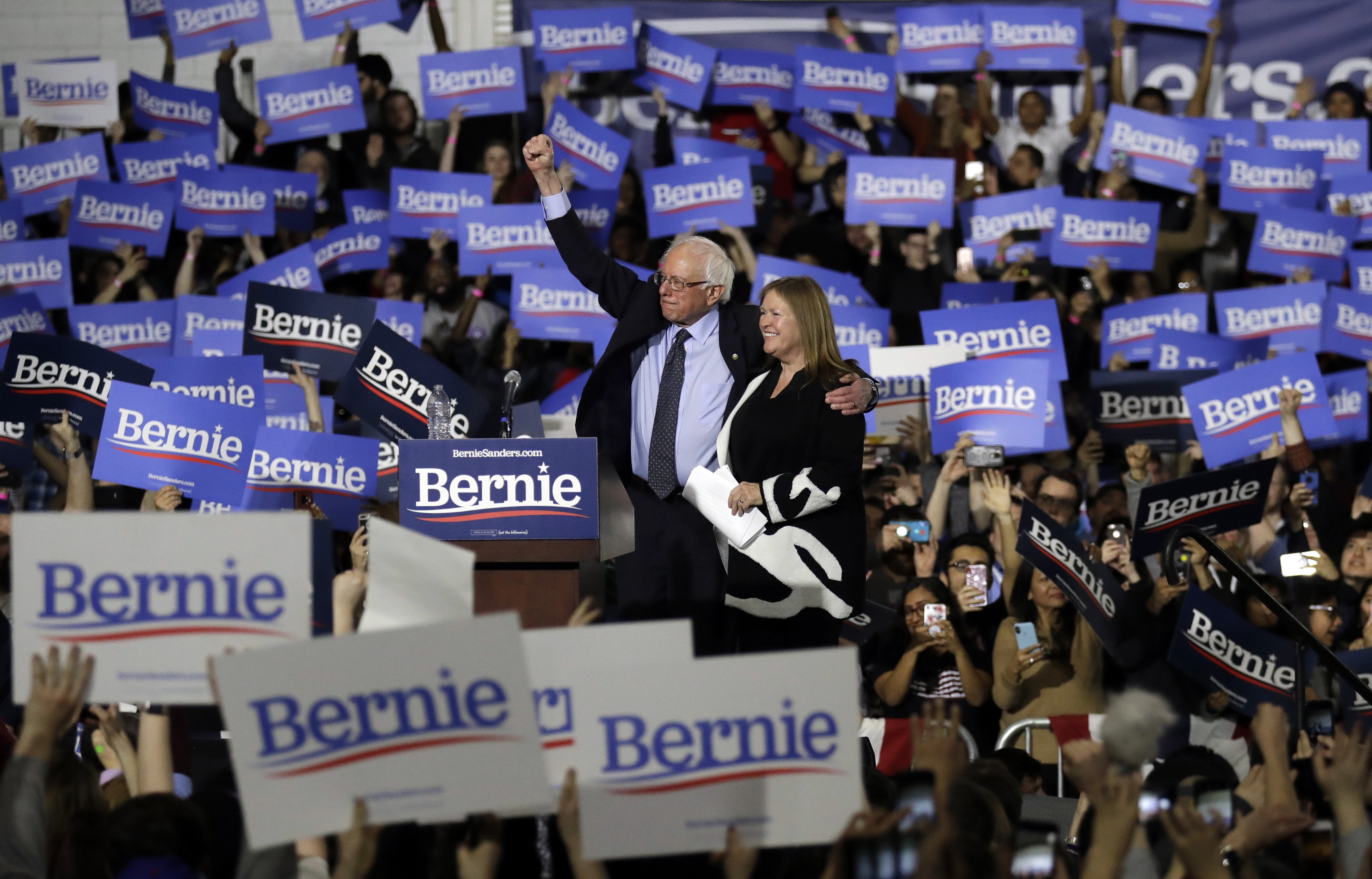 Sanders was joined by his wife, Jane O'Meara Sanders, in Chicago, on Sunday.
