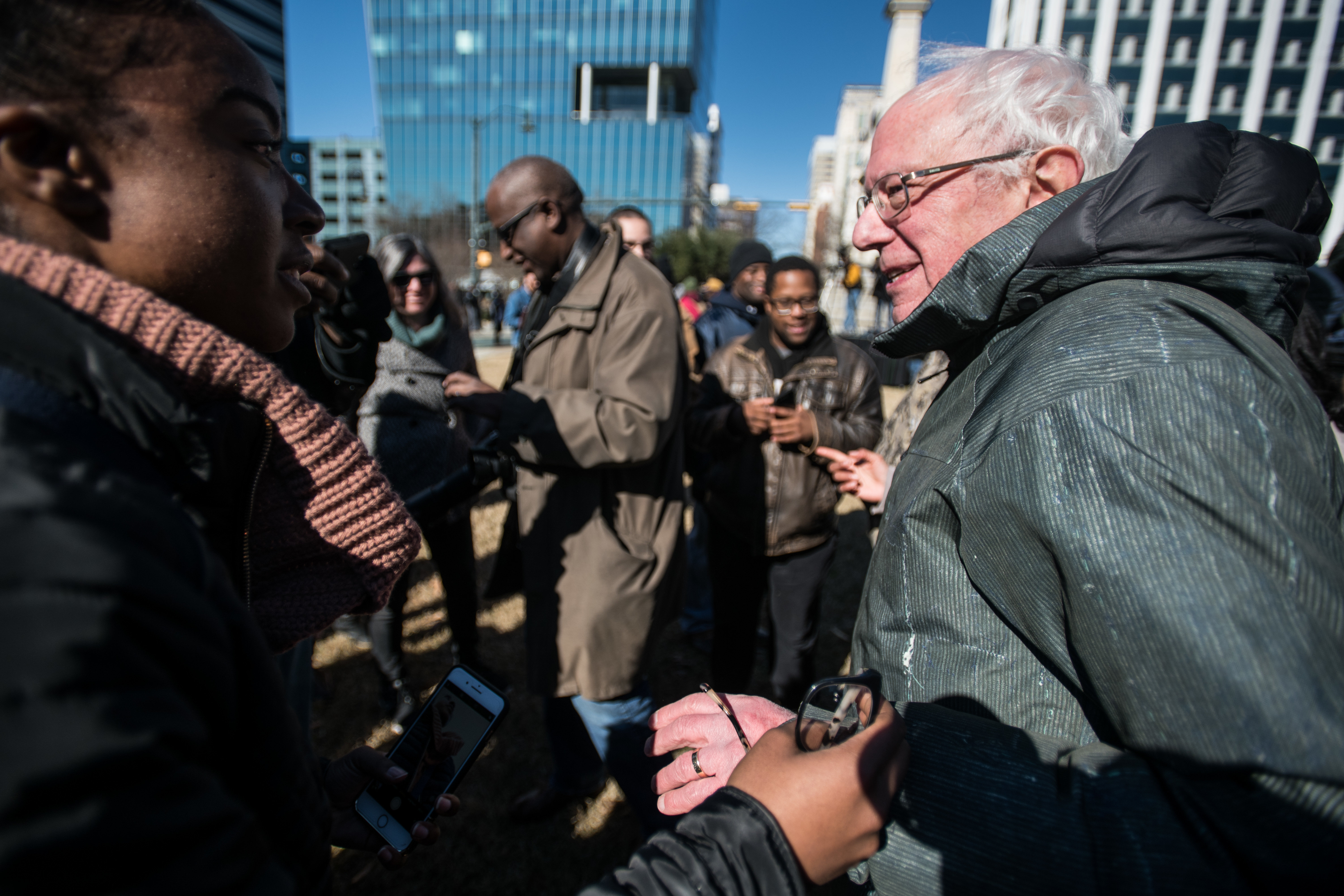 Sen. Bernie Sanders (I-Vt.) walks through the crowd during the annual Martin Luther King Jr. Day at the Dome event on Jan. 21