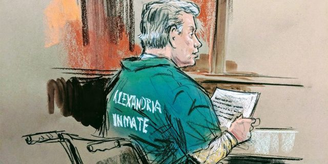 A courtroom sketch shows Paul Manafort, in a wheelchair, awaiting his sentence in the Virginia case.