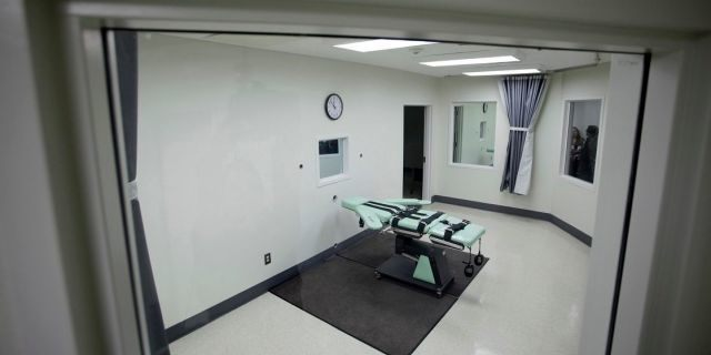 This Sept. 21, 2010, file photo shows the interior of the lethal injection facility at San Quentin State Prison in San Quentin, Calif. Gov. Gavin Newsom is expected to sign a moratorium on the death penalty in California Wednesday, March 13, 2019. (Associated Press)
