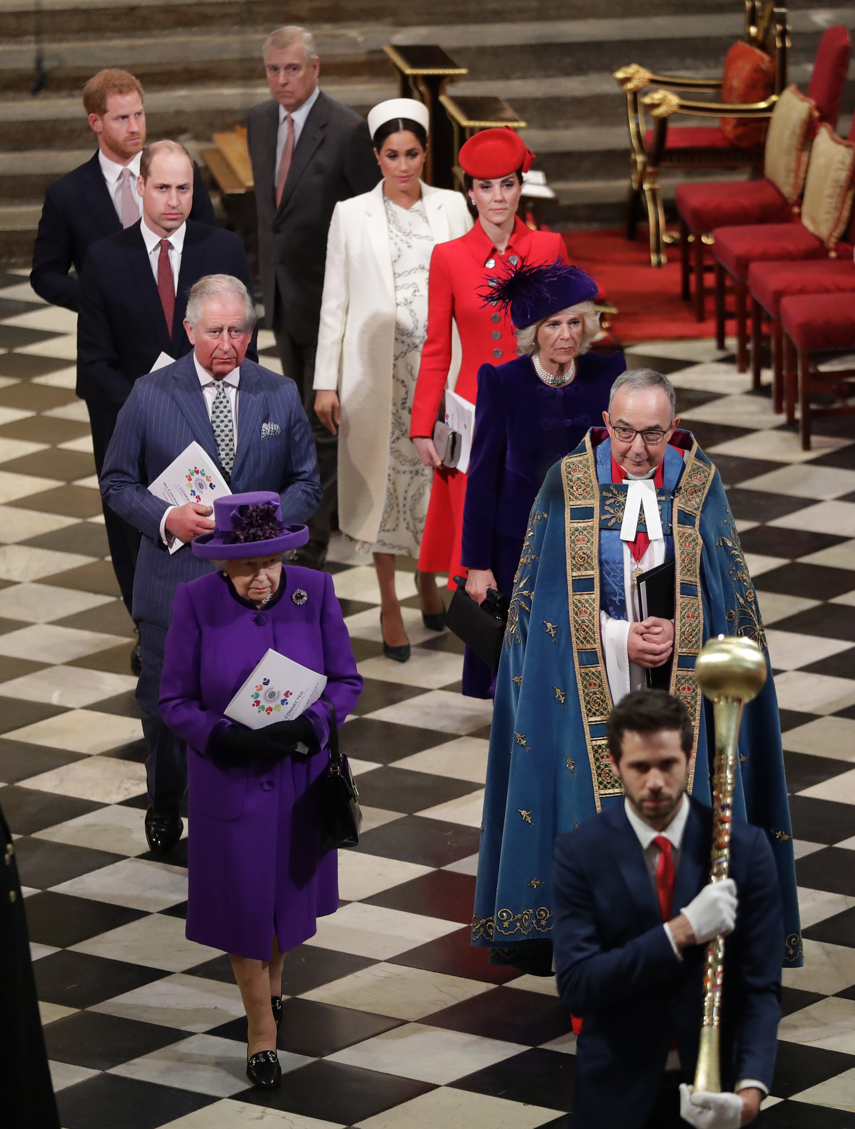 The royal family leaving theCommonwealth Day service.