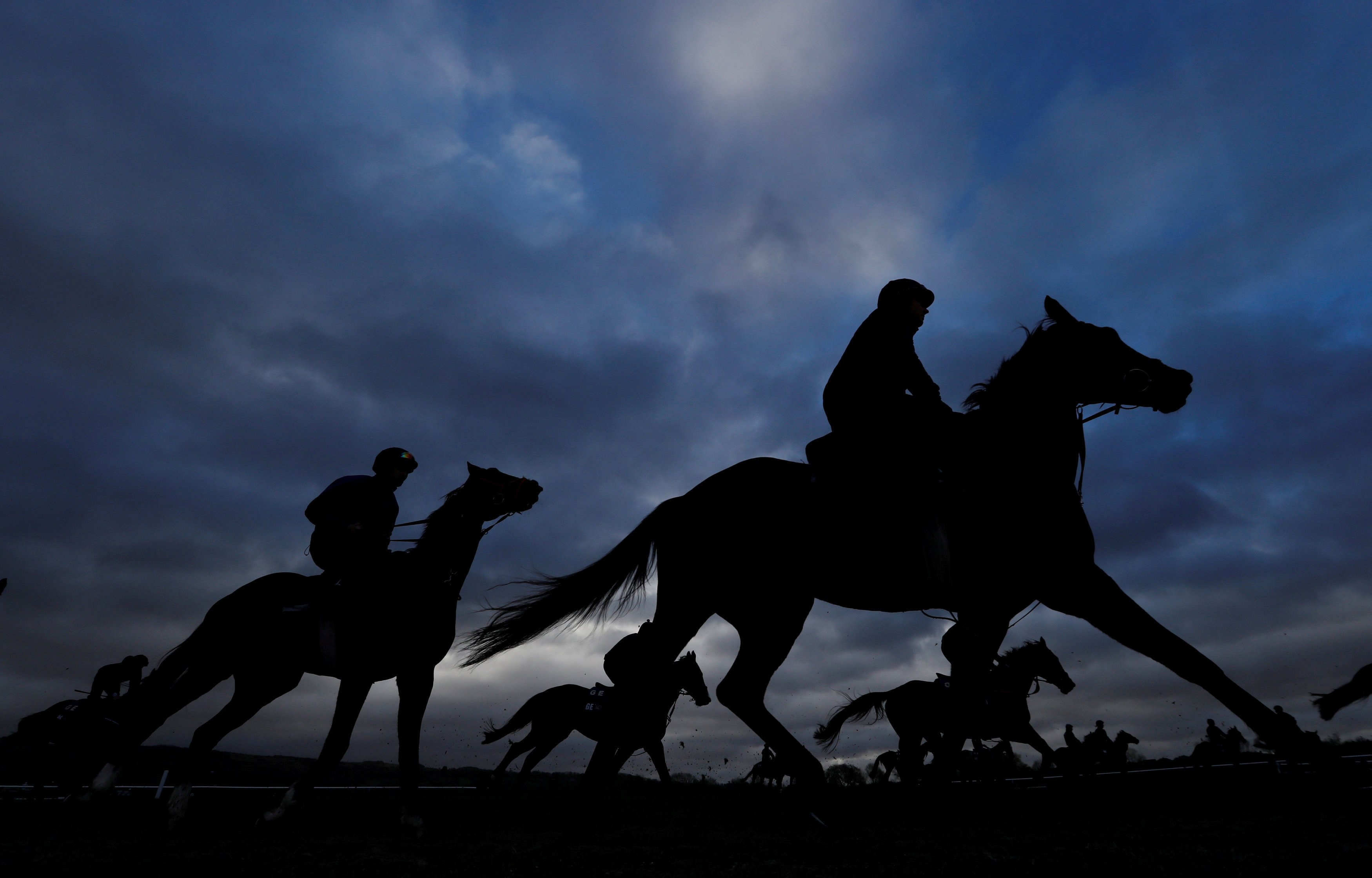 General view during the morning gallops at theCheltenham Racecourse in Cheltenham, Britain, on March 13, 2019.