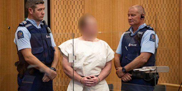 The Australian-born man suspected in shootings in shootings at two mosques in New Zealand that killed 49 people Friday appeared in court Saturday, March 16, 2019.