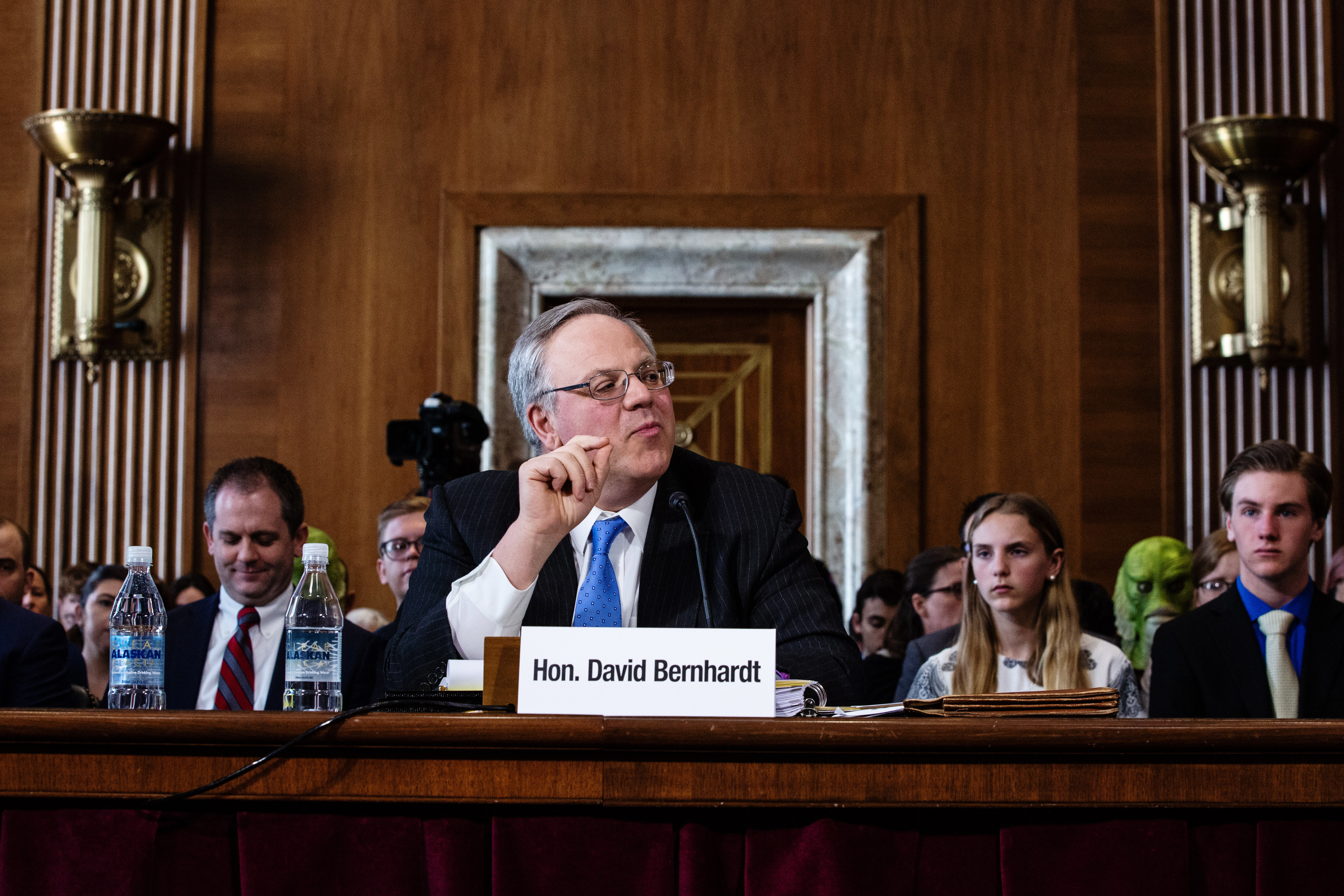 David Bernhardt, the nominee to serve as secretary of the Interior Department, speaks during a Senate Energy and Natural Reso