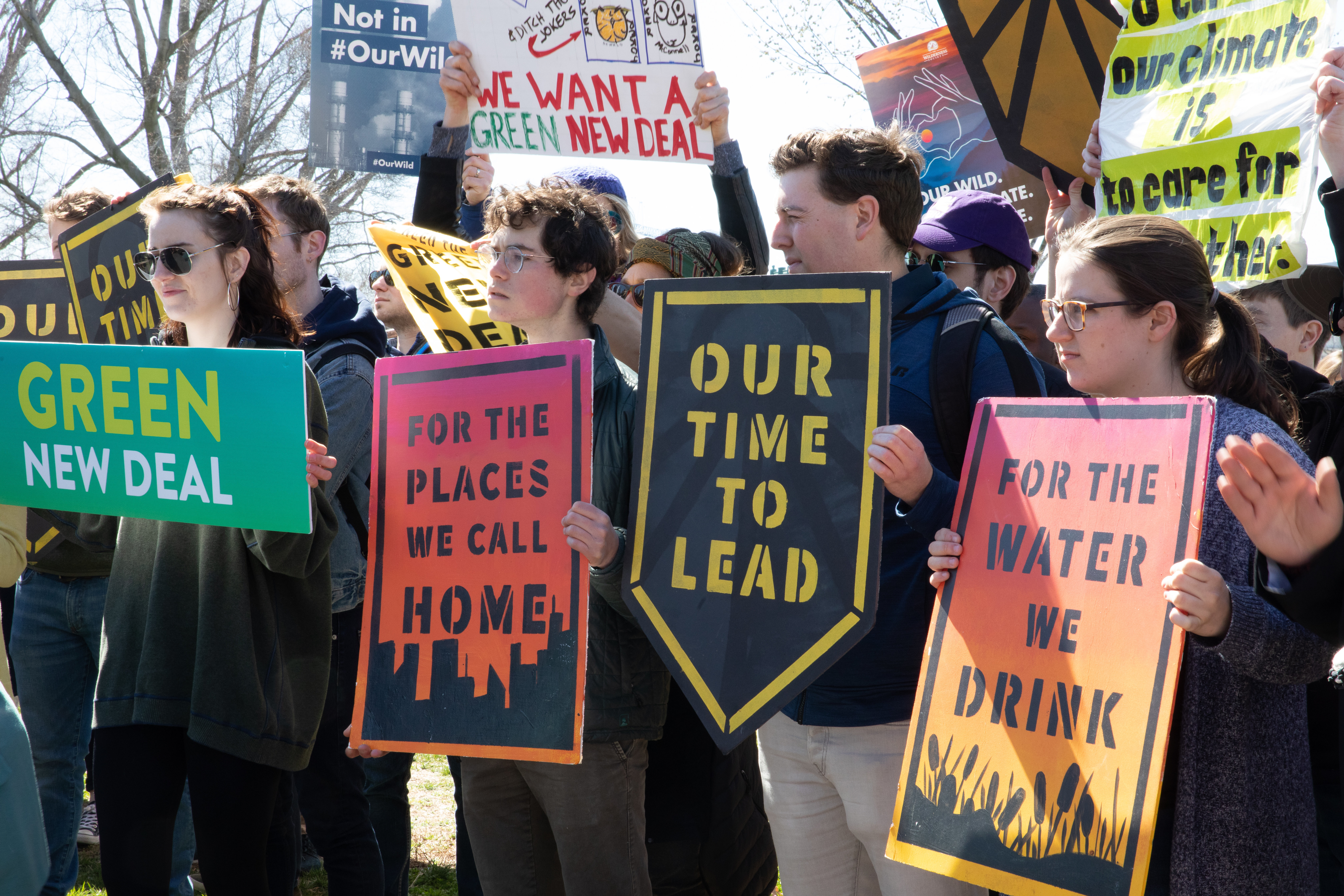 Sunrise Movement activists protest the Green New Deal.