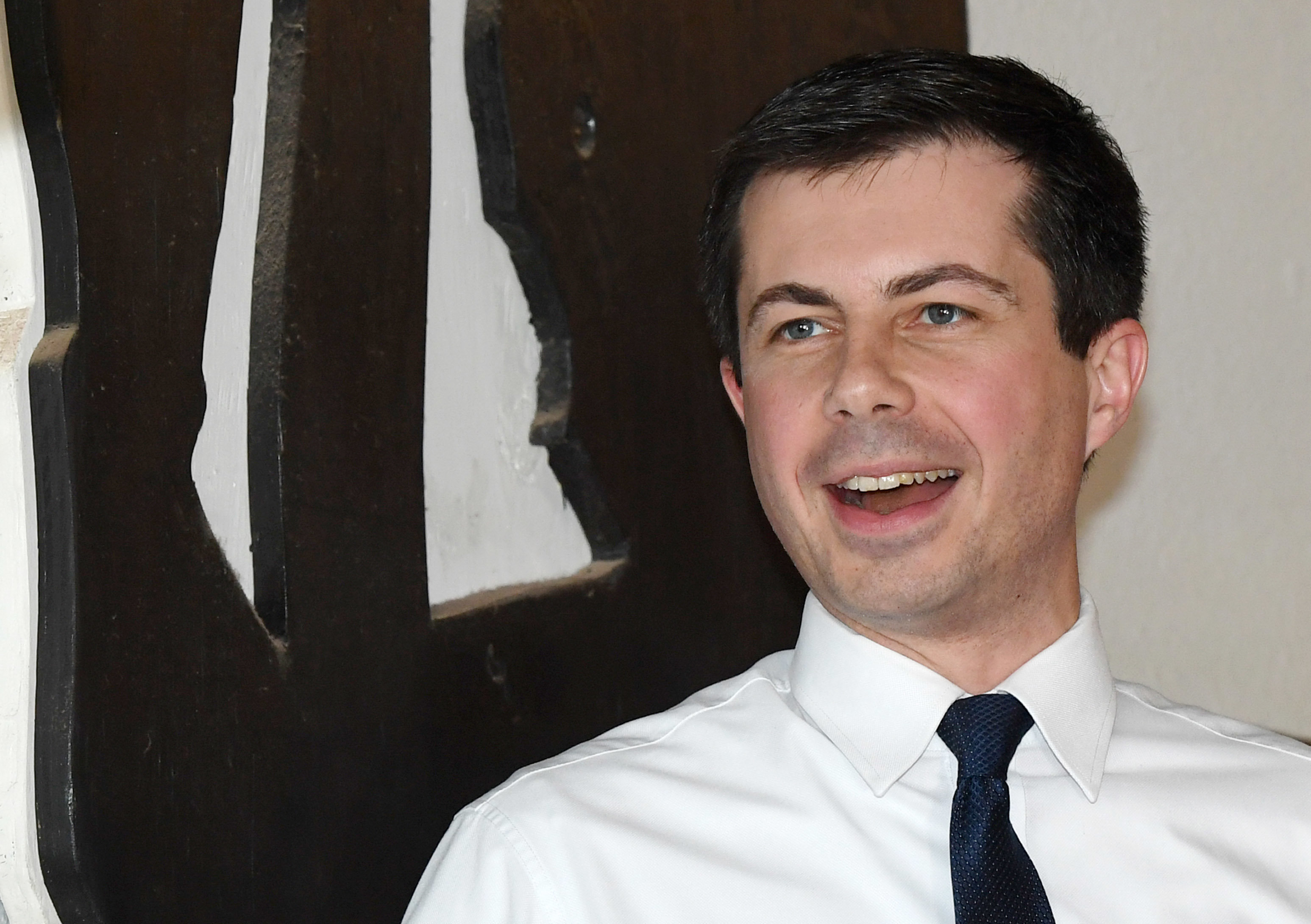 Presidential hopeful Pete Buttigieg speaks at a meet-and-greet at Madhouse Coffee on April 8, 2019, in Las Vegas.