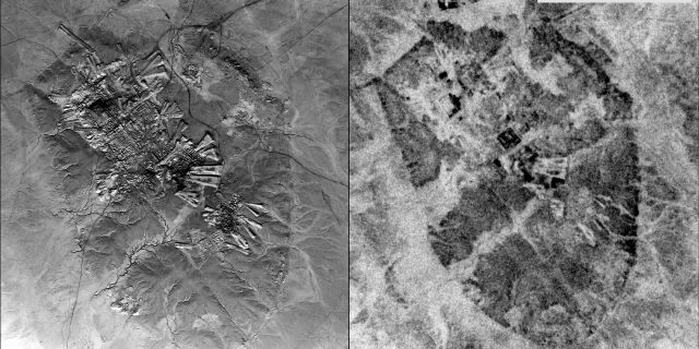 Left: A U2 image of Ur (Tell al-Muqayyar), Iraq, captured on Oct. 30, 1959. Right: a CORONA satellite image of the same site captured on May 4, 1968. (Emily Hammer and Jason Ur)