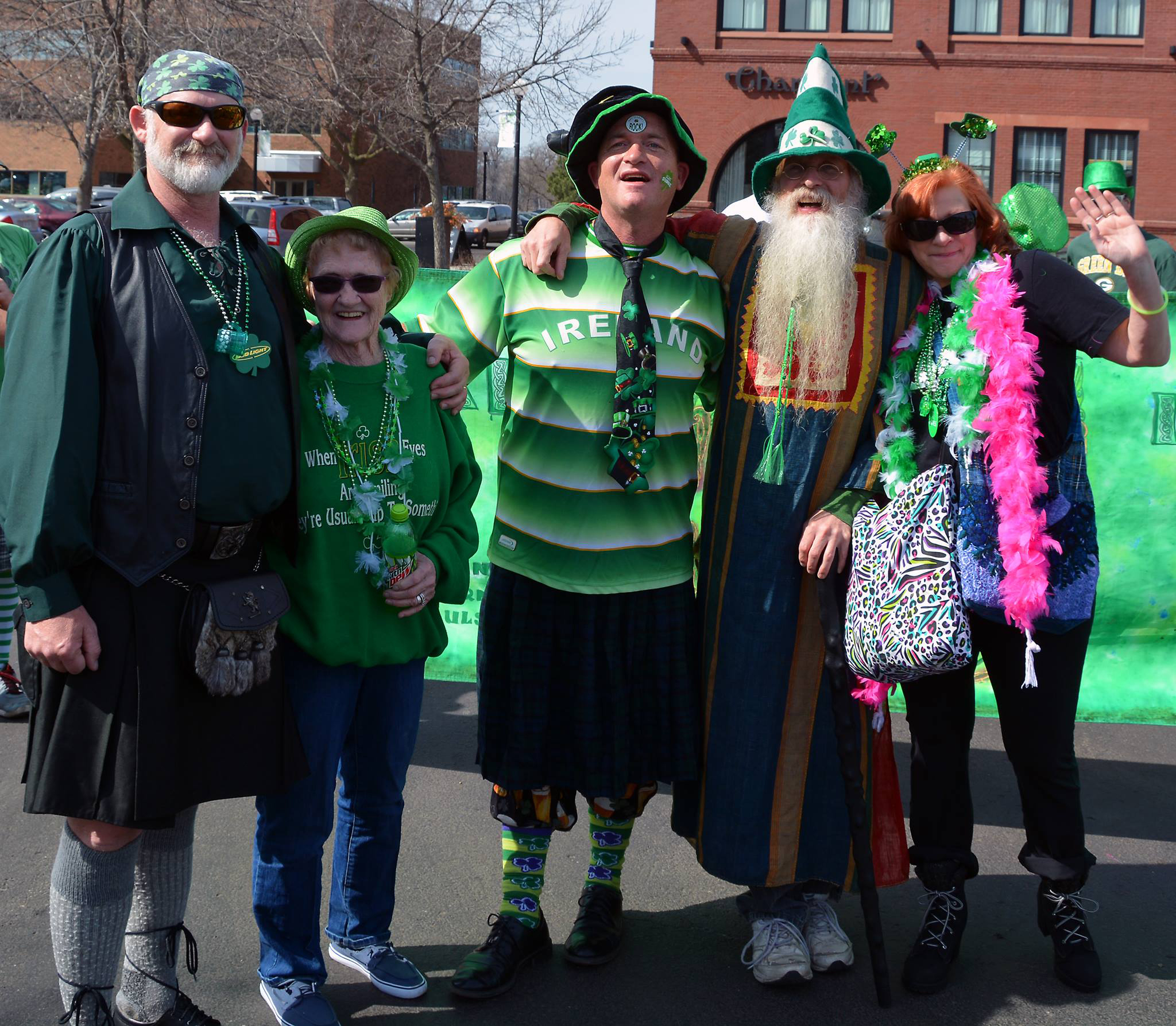 Ellen Karpas (second from left) and four of her five children attend a 2016 St. Patrick's Day parade in 2016. The following y