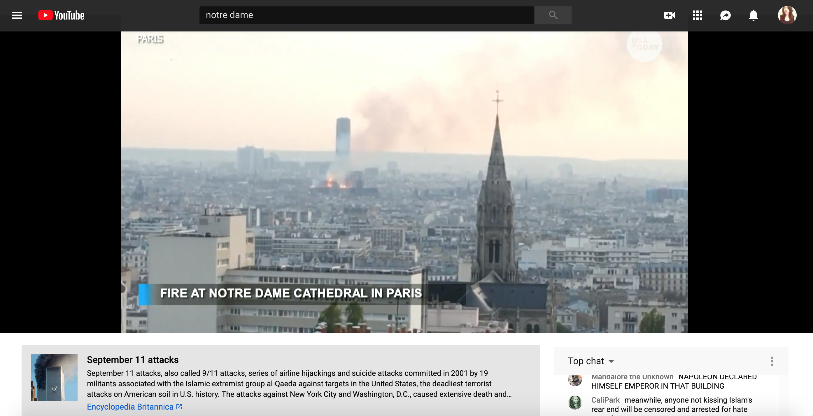 A view of the Sept. 11 description panel beneath footage of the Notre Dame fire on YouTube.