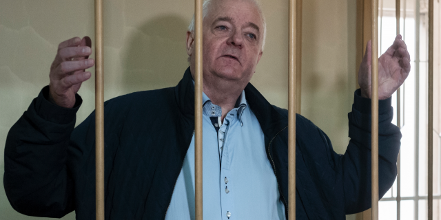 In this Monday, Oct. 1, 2018 file photo, Norwegian national Frode stands in a cage in Lefortovo district court in Moscow, Russia.