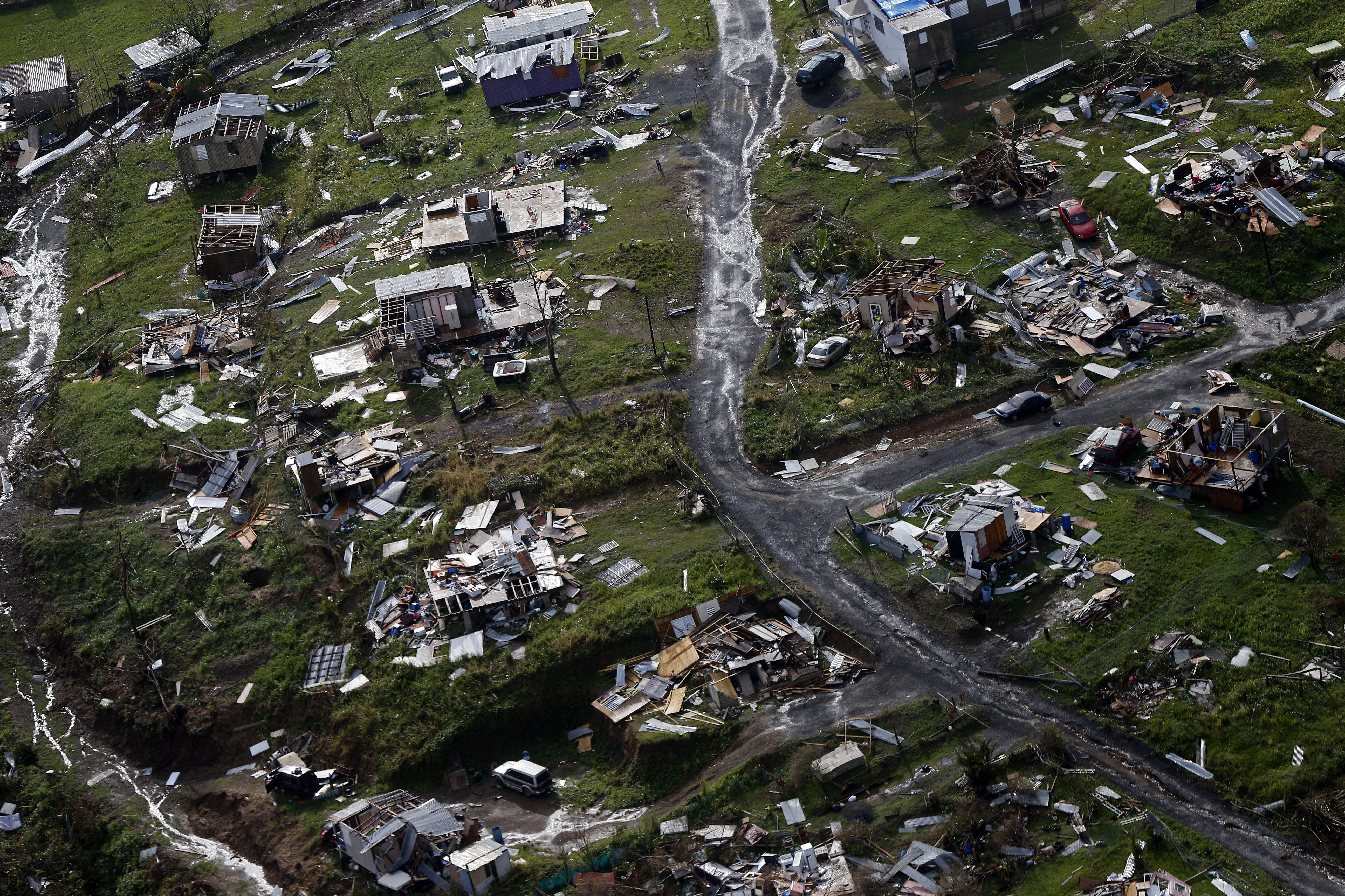 The community of Toa Alta lies in rubble on Sept. 28, 2017, after Hurricane Maria passed over Puerto Rico.