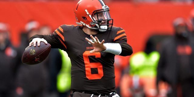 Cleveland Browns quarterback Baker Mayfield throws during the first half of an NFL football game against the Cincinnati Bengals, Sunday, Dec. 23, 2018, in Cleveland.