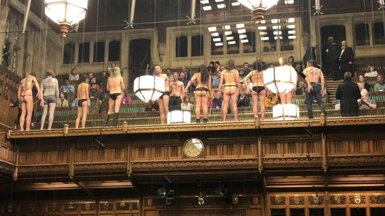 A dozen demonstrators have been arrested after stripping down in Britain's House of Commons to protest climate change