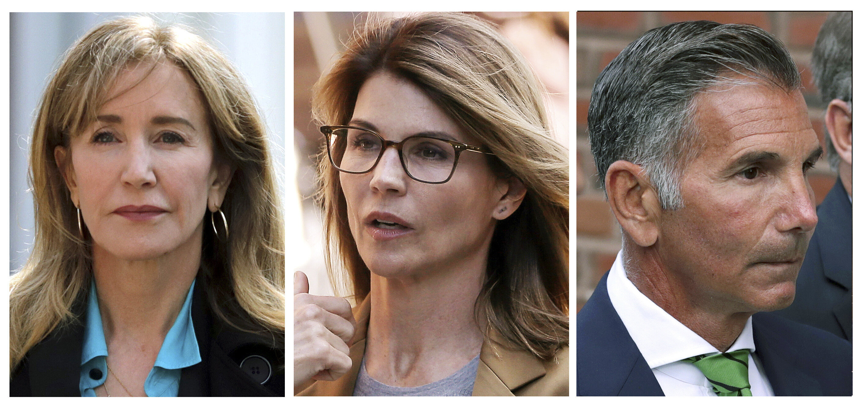 Felicity Huffman, Lori Loughlin and Mossimo Giannulli (left to right) are among dozens of people accused of involvement in a