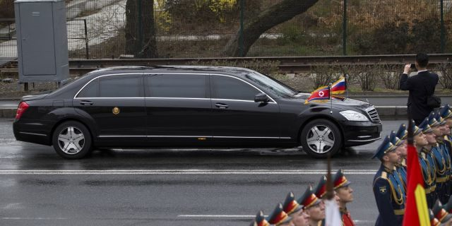 North Korean leader Kim Jong Un's limousine arrives for a wreath-laying ceremony in Vladivostok, Russia, Friday, April 26, 2019. (Associated Press)