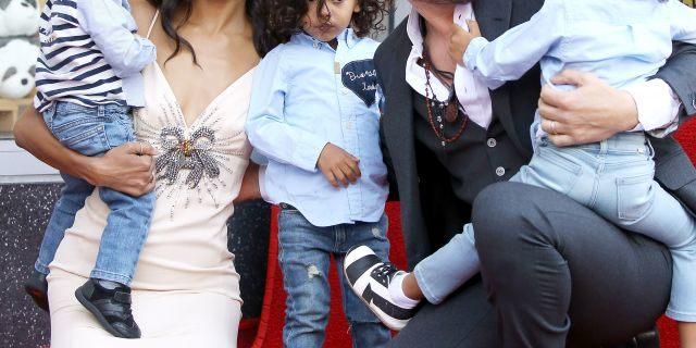 Zoe Saldana with her husband, Marco Perego, and their children, Bowie Ezio Perego-Saldana, Cy Aridio Perego-Saldana and Ezio Perego attend the ceremony honoring Zoe Saldana with A Star on The Hollywood Walk of Fame