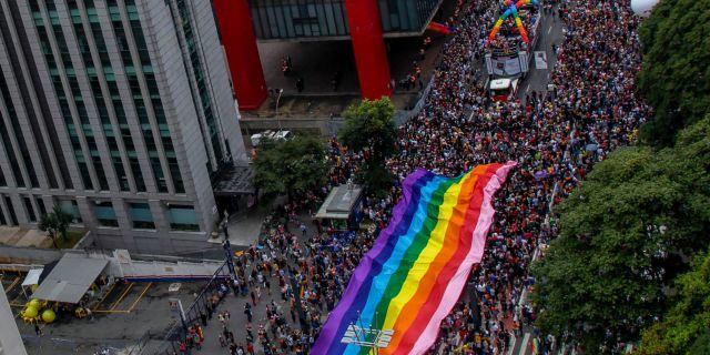Thousands of revelers take part in the 22nd Gay Pride Parade, in Sao Paulo, Brazil on June 03, 2018.