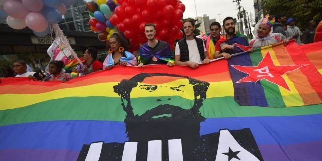 Thousands of revellers celebrate at the Gay Pride Parade at Paulista Avenue on Sunday, June. 3, 2018. (Getty Images)
