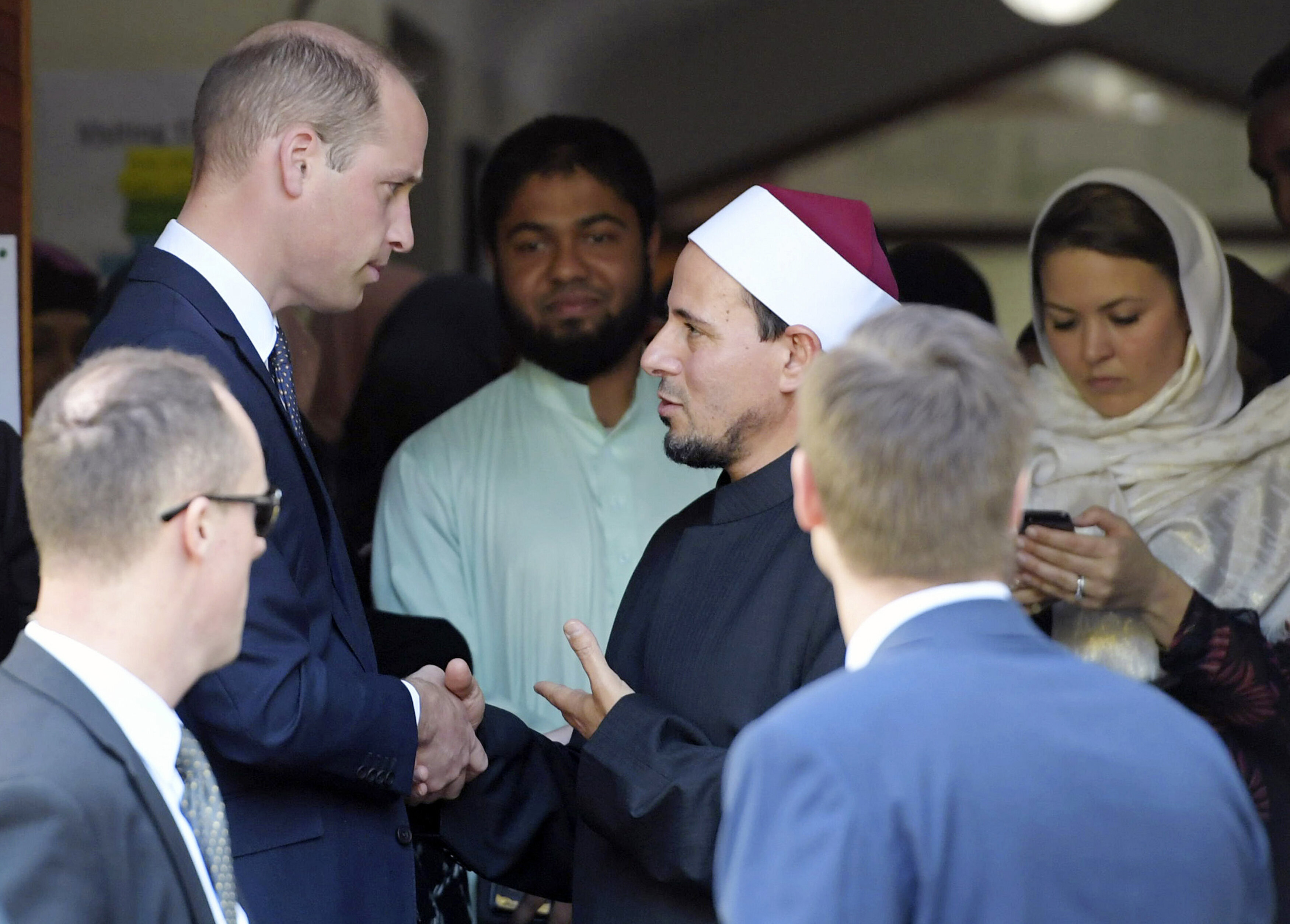 Prince William (top left) shakes hands with Imam Gamal Fouda after his visit to the Al Noor Mosque in Christchurch, New Zeala