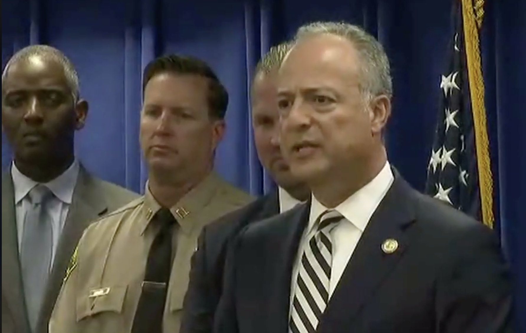 U.S. Attorney Nick Hanna spoke at a press conference about a foiled attack in Long Beach, California, on Monday.