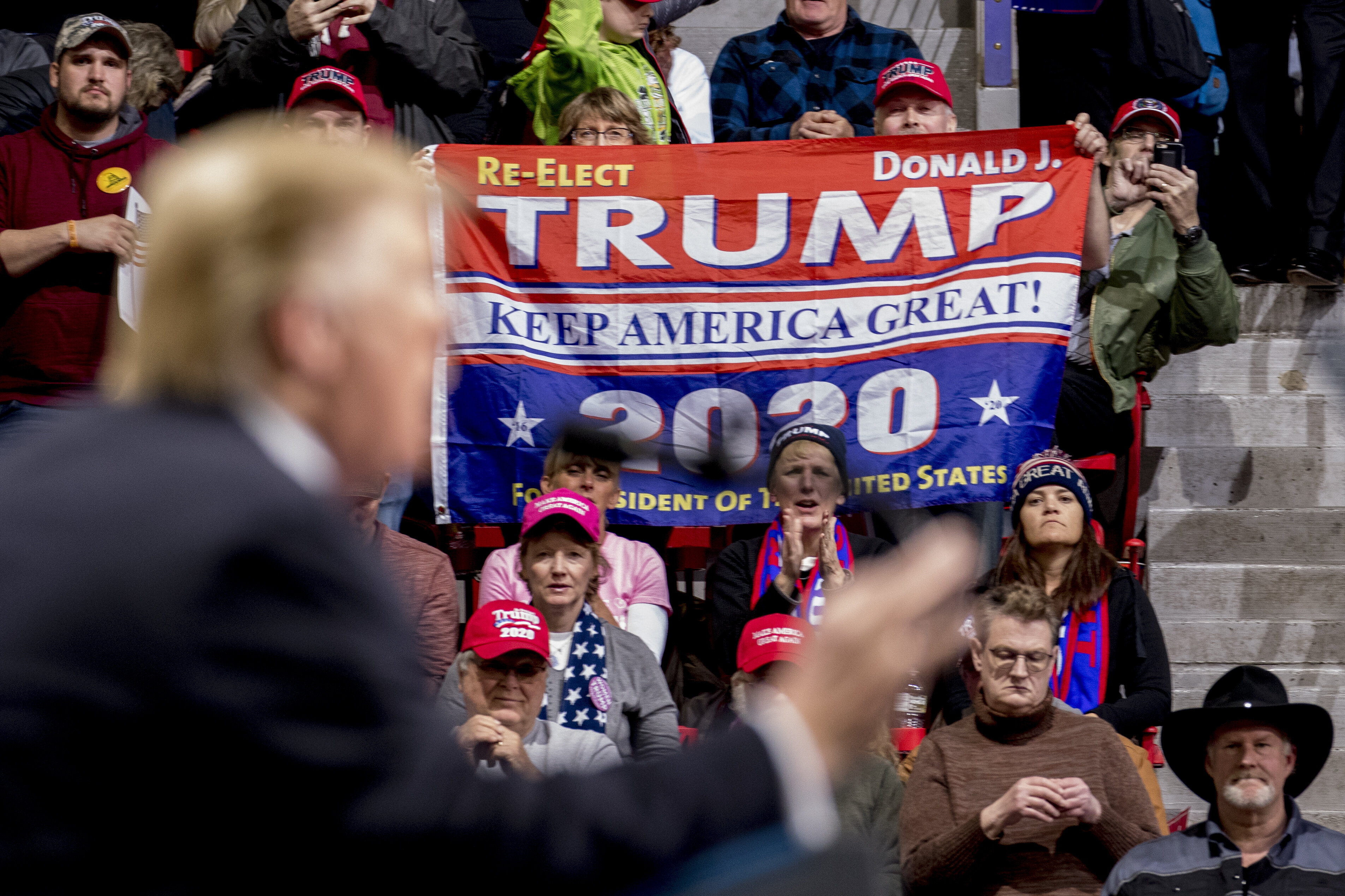 President Donald Trump speaks at a rally Saturday in Green Bay, Wis. His support among even Republicans appears to be softeni
