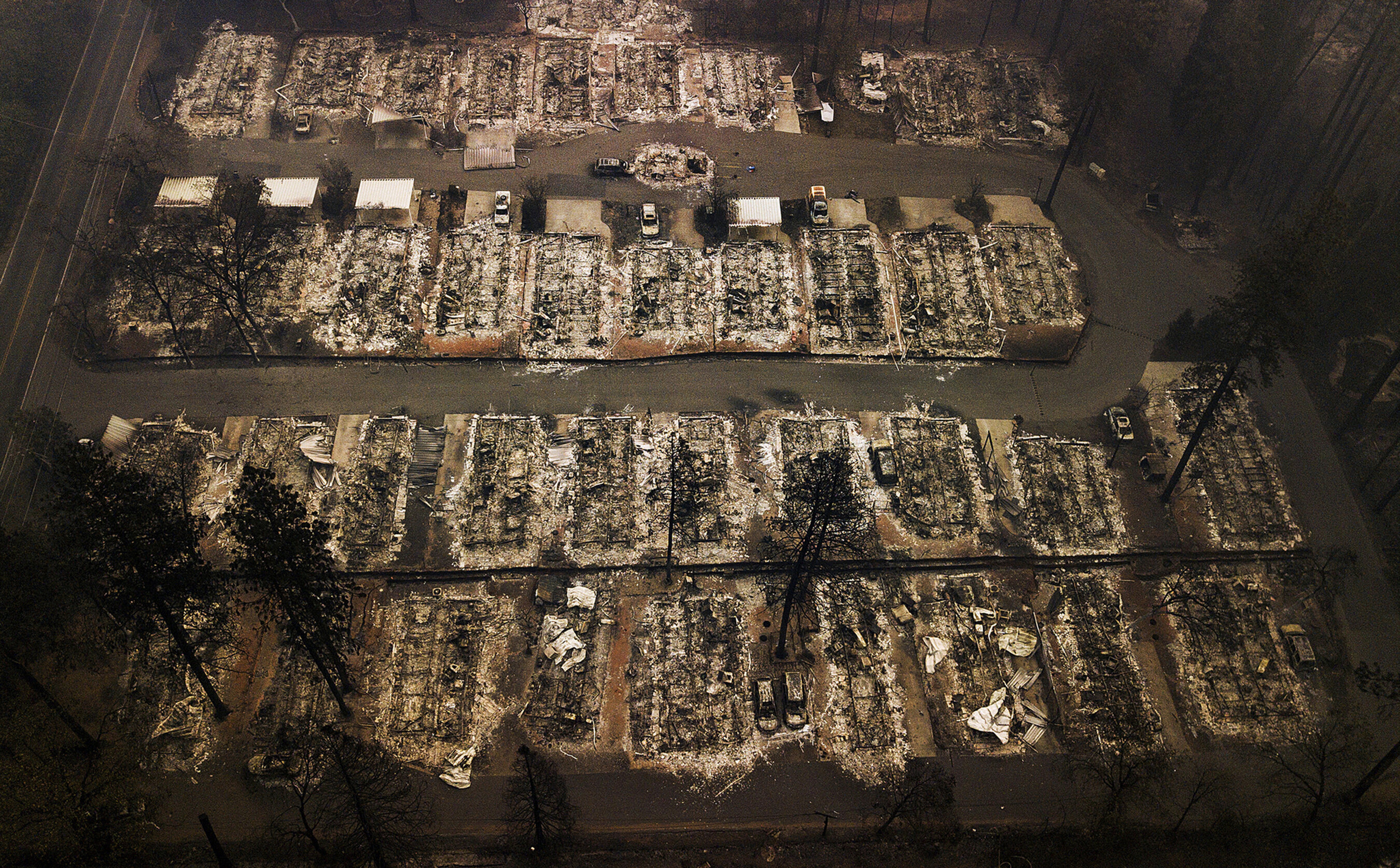 The remains of homes leveled by the wildfire last November in Paradise, California.