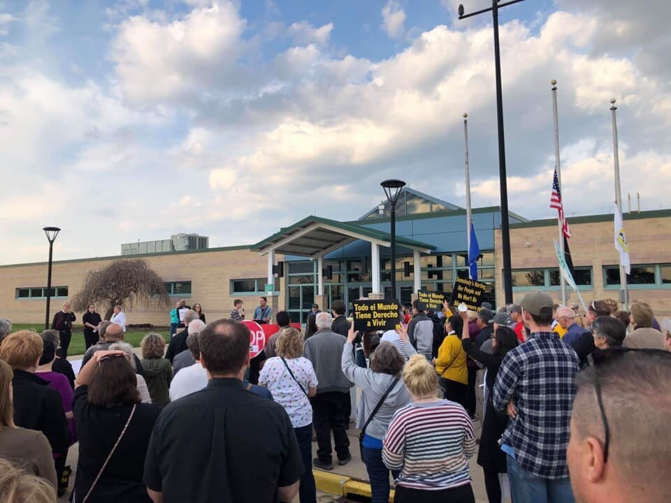 People gather for a prayer vigil outside theKenosha County Detention Center in Wisconsin on May 15, 2019.