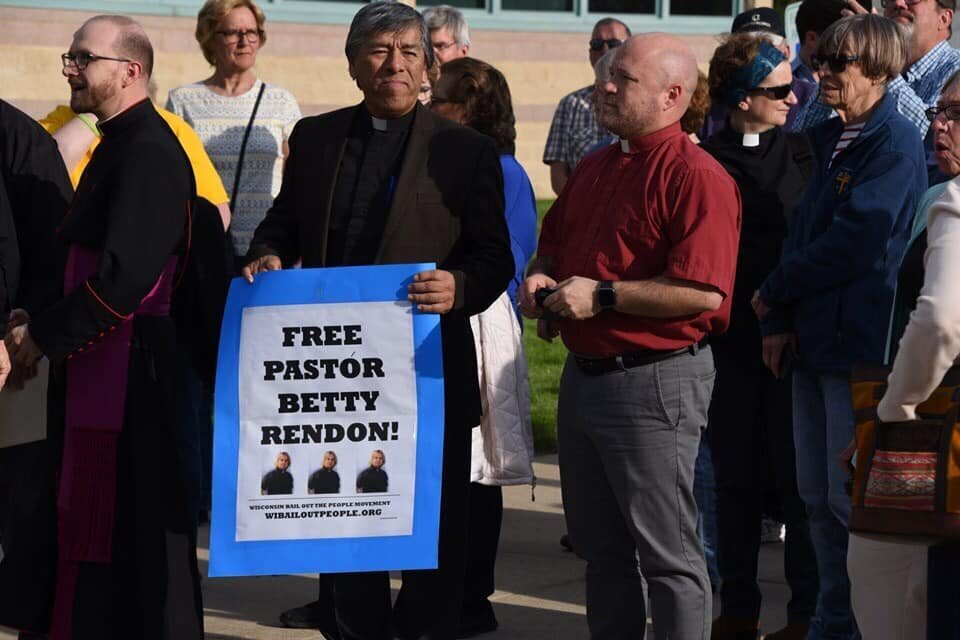 Clergy attend a demonstration outside the Kenosha County Detention Center in support of Pastor Betty Rendón.
