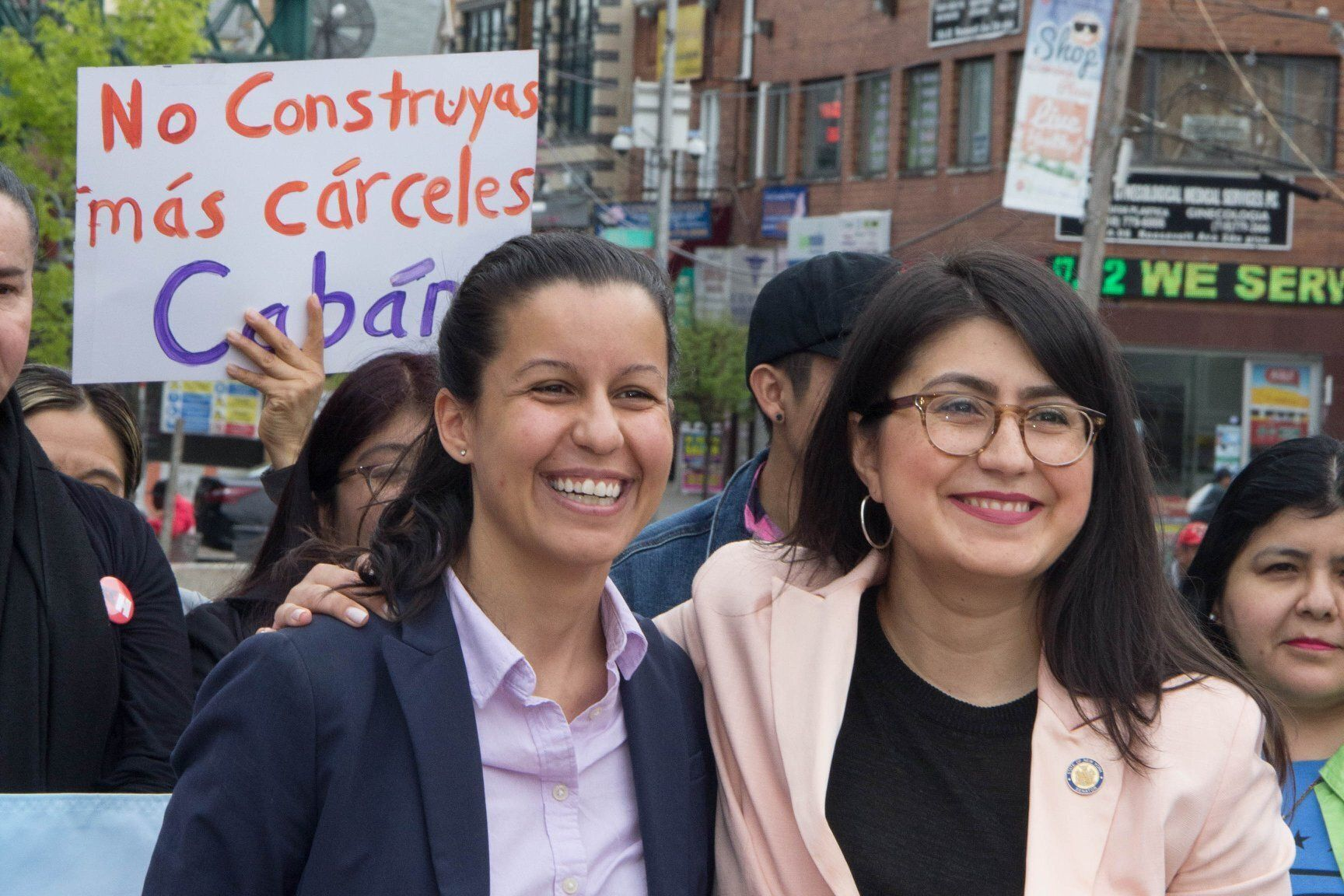 Tiffany Cabán, left, stands with New York state Sen. Jessica Ramos (D), who has endorsed her candidacy.