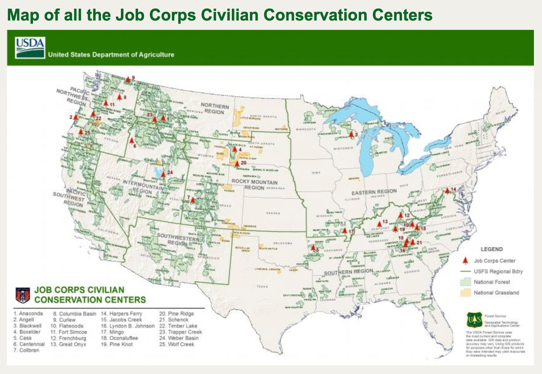 Locations of the Job Corps Civilian Conservation Centers slated to be closed.