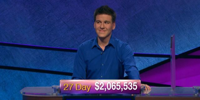 """James Holzhauer won his 27th consecutive """"Jeopardy!"""" game on Friday. He also became the second person in the show's history to earn more than $2 million in regular-season (non-tournament) play."""