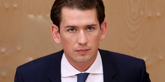 Austrian Chancellor Sebastian Kurz attends at parliament session in Vienna, Austria, Monday, May 27, 2019. (AP Photo/Ronald Zak)