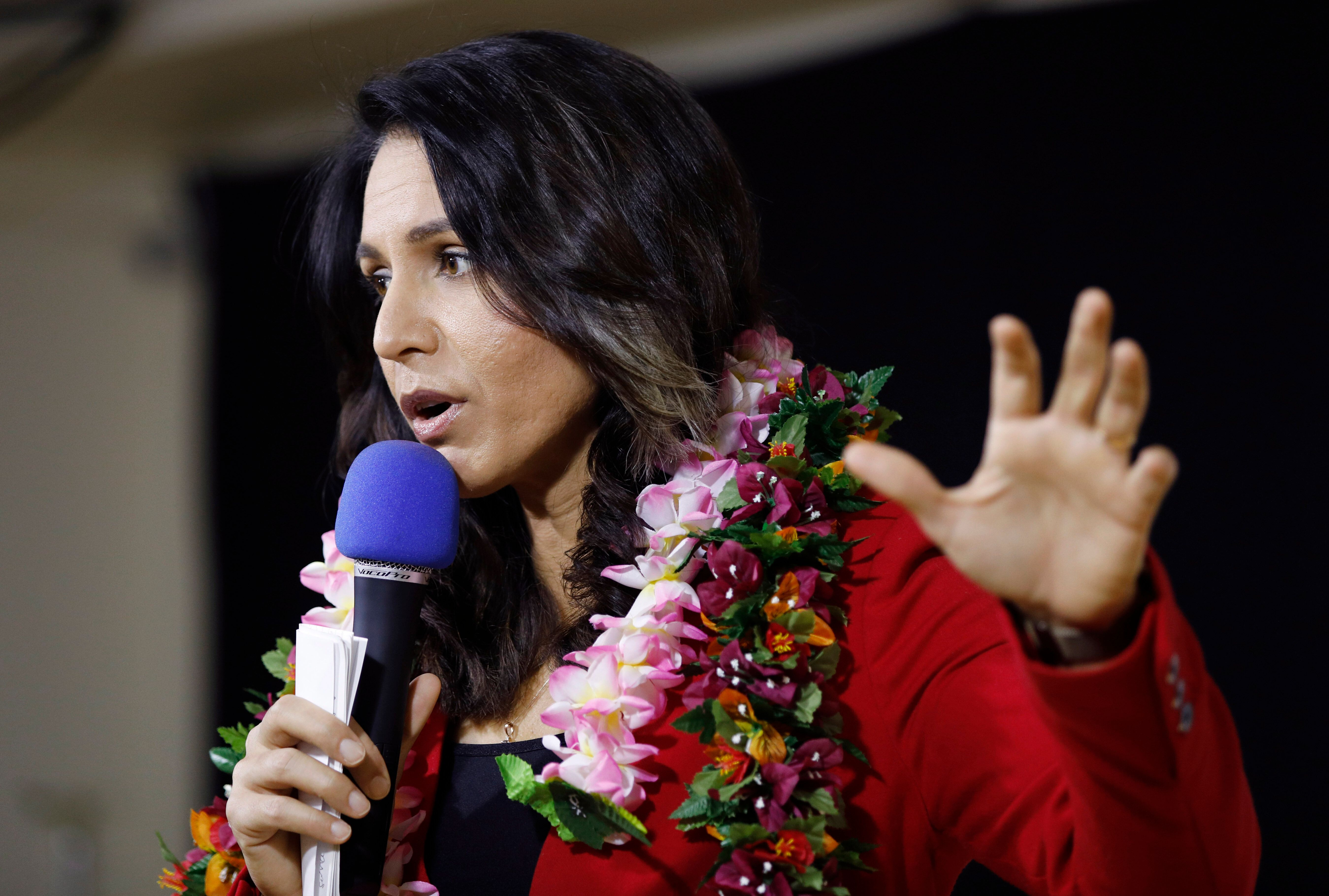 """Tulsi Gabbardhas pointed to """"the issue of warand peace"""" as a motivation behind her decision to run."""