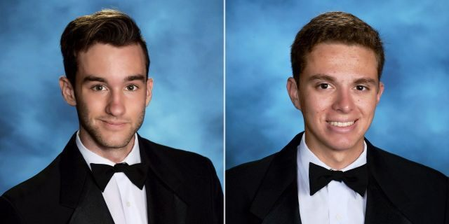 Albert Ales, left, and Zachary Morris, right, were killed in Peru on Friday when their motorcycle was hit by a bus, according to officials.
