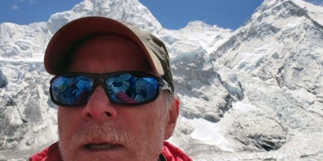 Christopher Kulish in front of Mount Everest.