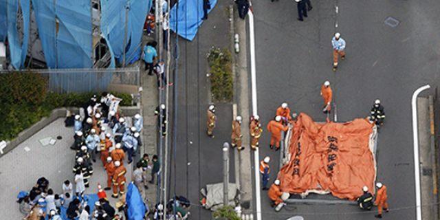 The scene of the attack Tuesday morning in Kawasaki City, Japan. (Jun Hirata/Kyodo News via AP)