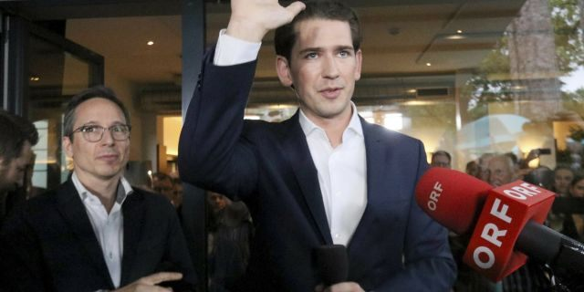 Austrian Chancellor Sebastian Kurz waves to his supporters at the political headquarters of Austrian People's Party, OEVP, in Vienna, Austria, Monday, May 27, 2019. Chancellor Sebastian Kurz's center-right party recorded a big win in European elections, but he was ousted Monday following the collapse of his scandal-tainted coalition.