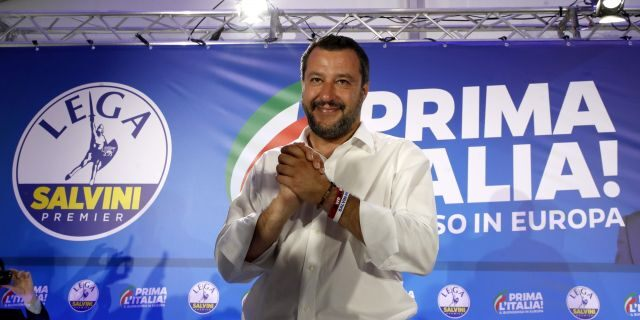Interior Minister and Deputy Premier Matteo Salvini arrives for a press conference at the League's headquarters, in Milan, Italy, Monday, May 27, 2019. (AP Photo/Antonio Calanni)