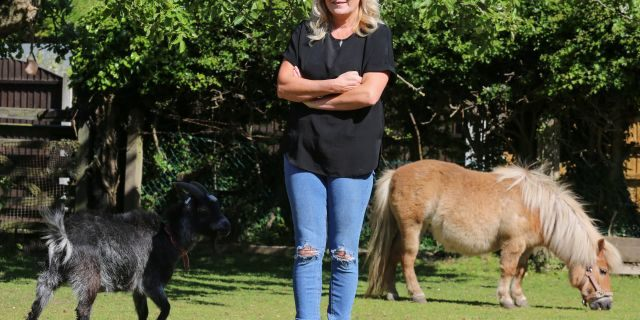 Mandy Marsh with her pet pony and goat. (SWNS)