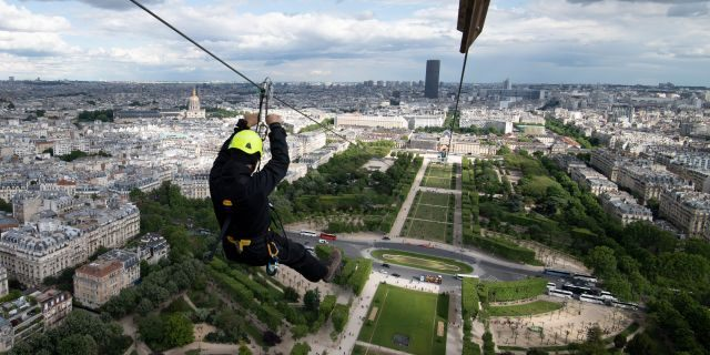 The 60-second ride will take participants up 377-feet in the air and plunge them across the Champs de Mars park at over 56 miles per hour.