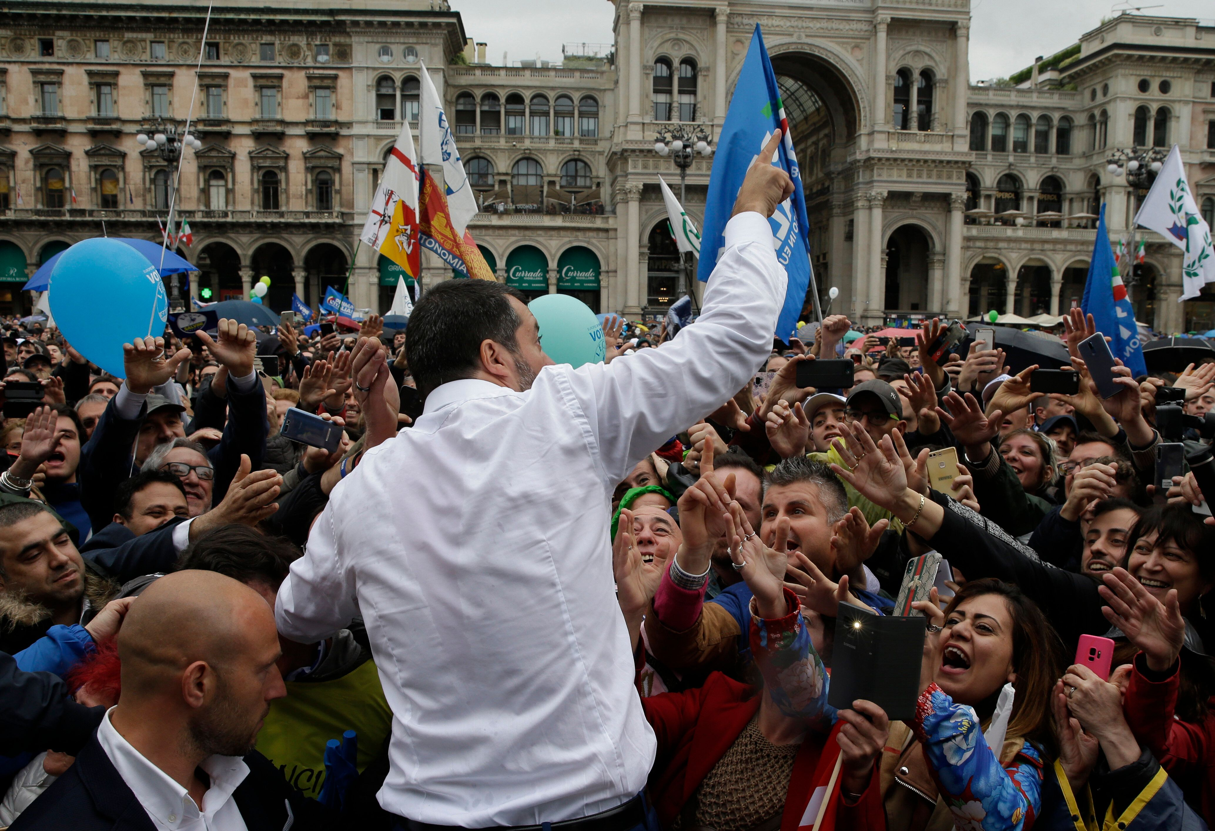 League leader Matteo Salvini, with leaders of other European nationalist parties, organized a rally in Milan, Italy, on May 1