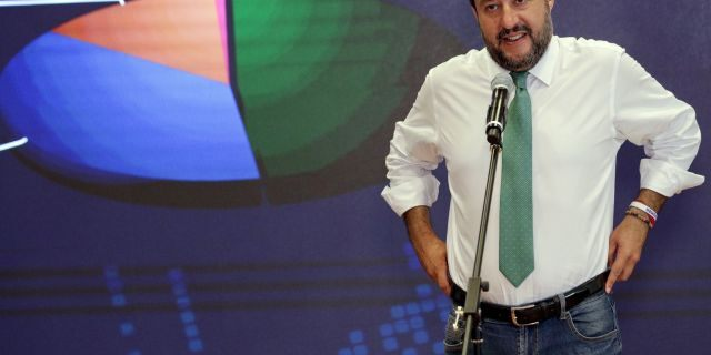 Italian Interior-Minister and Deputy-Premier Matteo Salvini meets reporters at the Interior Ministry headquarters in Rome, Monday, May 27, 2019. (AP Photo/Andrew Medichini)